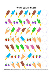 Ice-cream themed educational logic game training sequential pattern recognition: What comes next in the sequence? Answer included.