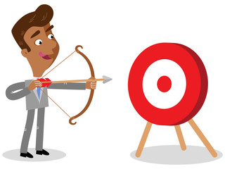 Vector illustration of an asian cartoon businessman with bow and arrow aiming at target isolated on white background