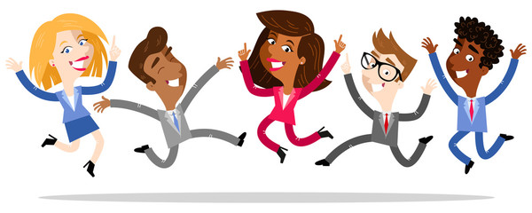 Vector illustration of cartoon business people jumping and celebrating isolated on white background