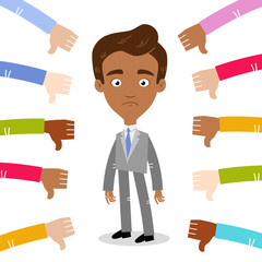 Vector illustration of sad asian cartoon businessman surrounded by people giving thumbs down isolated on white background
