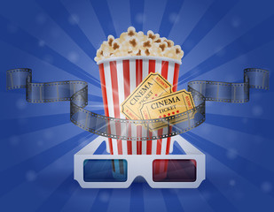 cinema concept popcorn film tickets and 3d glasses for viewing vector illustration