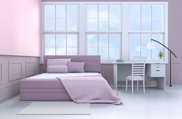 Bed room decor with tree in glass vase, pillows, blanket, window, sky, lamp,desk,book,pink bed, bolster,chair,white-wood wall.For teens. The sun shines through the window into the shadows. 3d render.