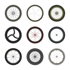 Set of Bicycle wheels in flat style isolated on white background. Vector illustration.