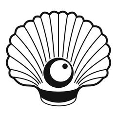 Shell with pearl icon. Simple illustration of shell with pearl vector icon for web