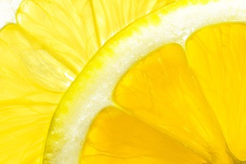 Macro view of lemon slice
