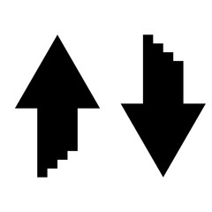 Two arrows with sumulation 3d effect for upload and download icon black color illustration flat style simple image