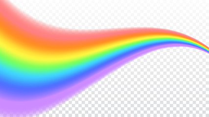 Rainbow icon. Shape wave realistic isolated on white transparent background. Colorful light and bright design element. Symbol of rain, sky, clear, nature. Graphic object. Vector illustration