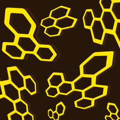 Geometric abstraction of a honeycomb with reflection and illumination on a brown background.