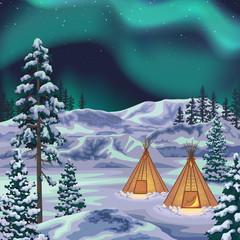 Night Northern Landscape with Aurora Borealis