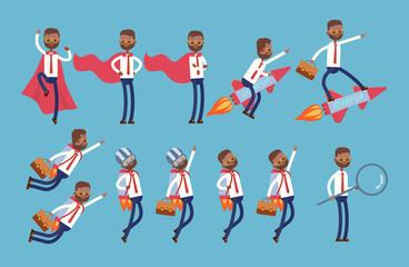 superhero in a red cloak, flies on a rocket, on a