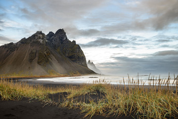 the Peninsula Stokksnes in Iceland with the mountain Vestrahorn in the bachground in the morning dawn