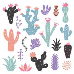 Hand drawn wild cactus flowers, tropical succulent plants set