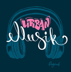 Headphone urban musik hand drawing, grunge vector illustration.