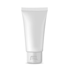 Vector white packaging mock-up tube for medicine or cosmetics - cream, gel, skin care, toothpaste.