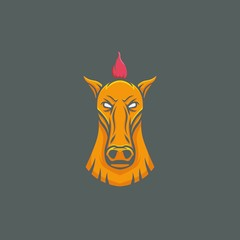Horse vector mascot head design element sport illustration emblem
