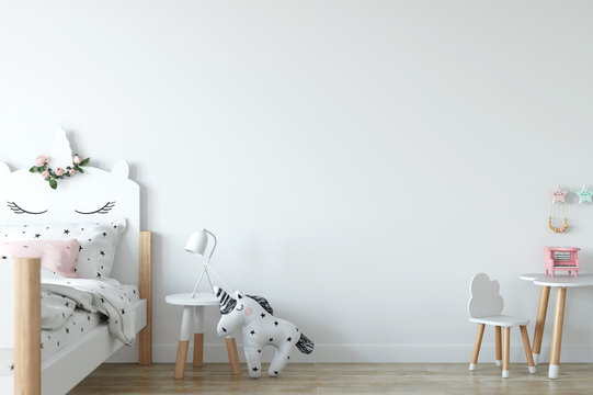 Wall mock up. Child's room interior. Scandinavian style. 3d rendering, 3d illustration