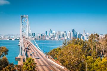 San Francisco skyline with Oakland Bay Bridge, California, USA