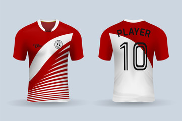 3D realistic mock up of front and back of soccer jersey shirt. Concept for soccer team uniform or football apparel mockup. Red soccer kit t-shirt template design in vector illustration.