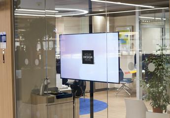 Flatscreen or LCD TV in Corporate Office Mockup