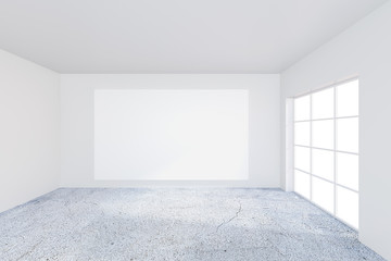 Empty white poster on the office white wall. 3d rendering.