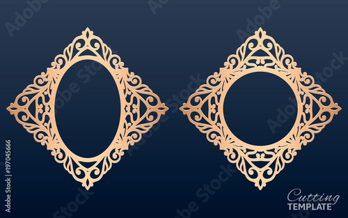 6d53764b9f1f Laser cut vector frames. Abstract oval and round frames with swirls ...