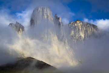 View of foggy mountain