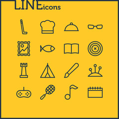 Vector illustration of 16 lifestyle icons line style. Editable set of bookmark, glasses, card and other icon elements.