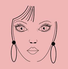 Vector illustration of a girl's face on pink, viso di donna stilizzato su sfondo rosa vettoriale