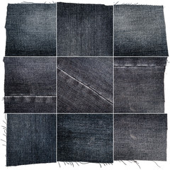 Collection of black jeans fabric textures
