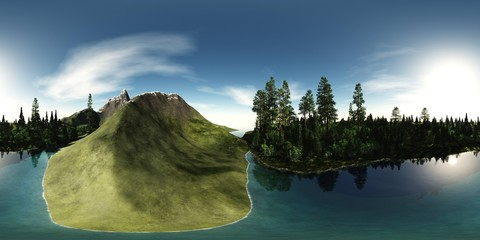 panorama of a forest lake on a background of a snowy mountain, HDRI, spherical panorama