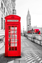 Red telephone box and Big Ben in London with isolated color effect.