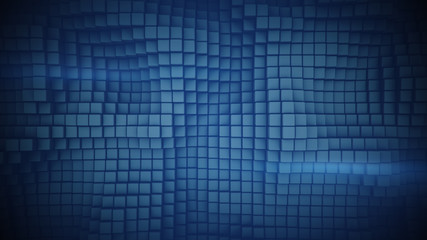 Wall of blue boxes abstract 3D illustration