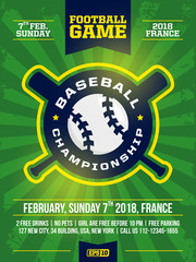 modern professional sports design poster with baseball tournament in green theme