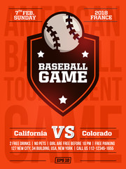 modern professional sports design poster with baseball tournament in orange theme
