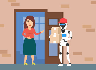 delivery robot courier with boxes woman near open doorway