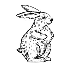 Easter bunny with egg engraving vector