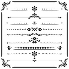 Vintage set of vector decorative elements. Horizontal separators in the frame. Collection of different ornaments. Classic patterns. Set of black and white patterns