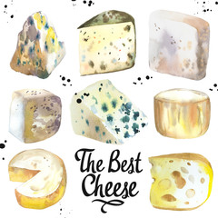 Watercolor illustration with different noble cheeses: camembert, gouda, parmesan, blue, edammer, maasdam, brie, roquefort. Snack bar. Farm dairy illustrations. Fresh organic food.