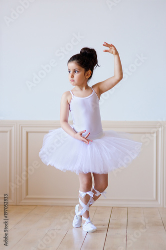 little girl ballerina in a white tutu stock photo and royalty free