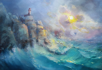 Rocks, waves, lighthouse