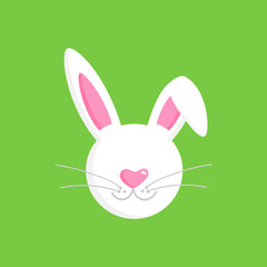 Cute white easter bunny head with ears, muzzle and whiskers, vector graphic illustration isolated on green background.