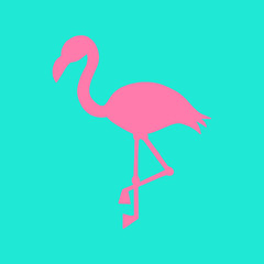 Mint background with pink flamingo silhouette, summer tropical flamingo vector illustration.