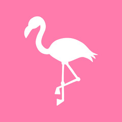 Pink background with white flamingo silhouette, summer tropical flamingo vector illustration.