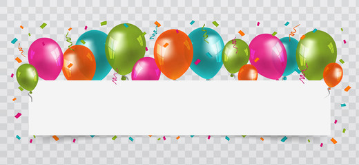 Colourful Balloons with confetti and streamers white Paper free Space. Transparent background. Birthday, Party and Carnival Vector.