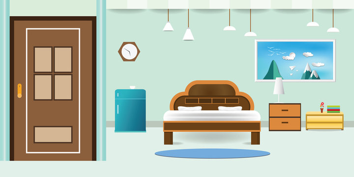 bedroom interior flat design relax that have door refrigerator blue cabinet, picture frame sky cloud landscape on mountain, in wall color soft green background. vector illustration
