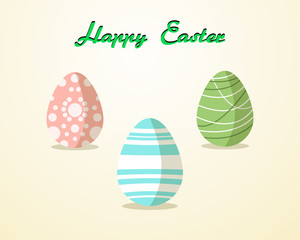 easter egg pattern paint color on yellow background Vector Illustration with copy space add text