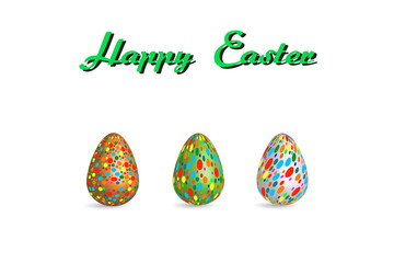 easter egg pattern paint color on white background Vector Illustration with copy space add text