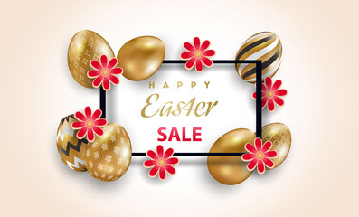 Easter card with square frame and gold ornate eggs on a light background. Vector illustration. Place for your text. Golden eggs with small floral and geometric patterns