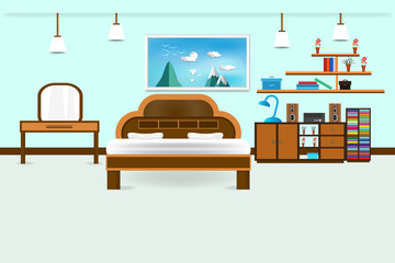 bedroom interior flat design relax with bed vanity.and bookshelf, speaker system, picture frame sky cloud landscape on mountain, in wall color soft blue background. vector illustration