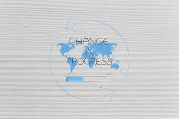 world map with Change caption and progress bar loading surrounded by spinning arrows